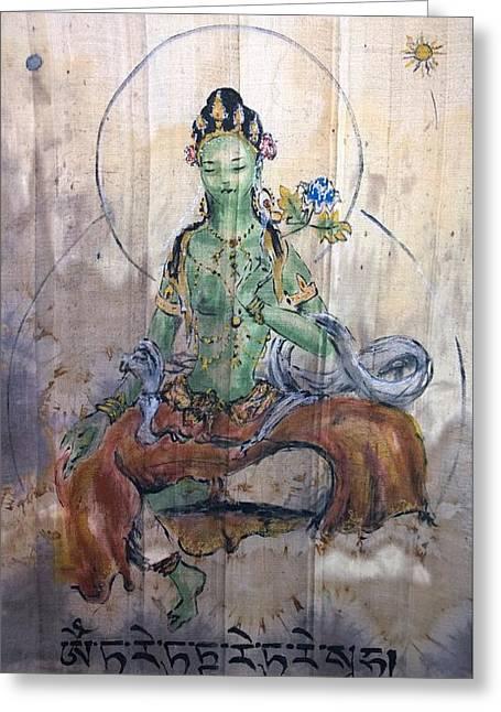 Green Tara  Greeting Card by Silk Alchemy