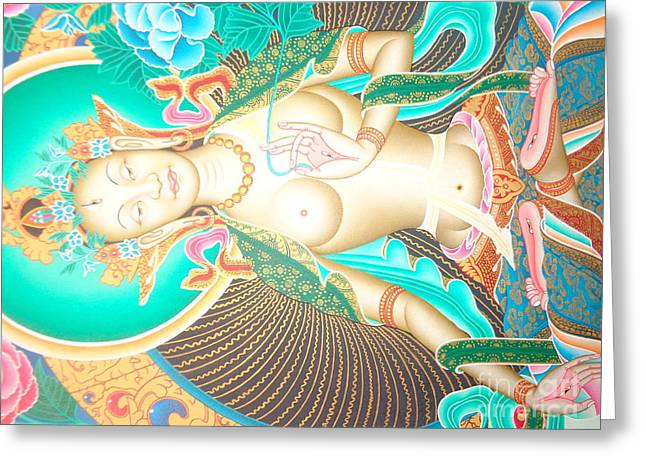 Green Tara Greeting Card by Suresh Tamang
