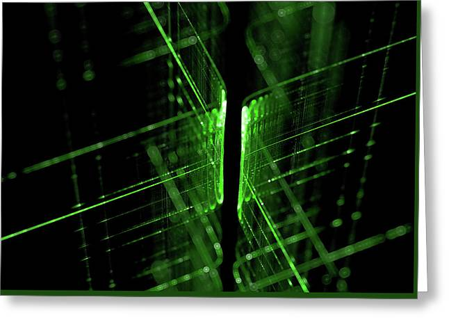 Green Technology Lines Background Greeting Card by StarLineArts
