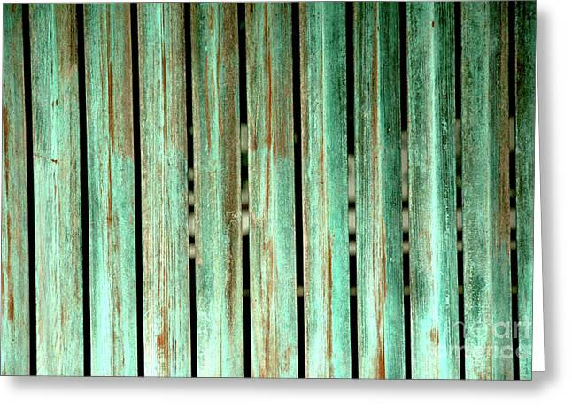 Green Texture Fence Greeting Card by Mike Lindwasser Photography