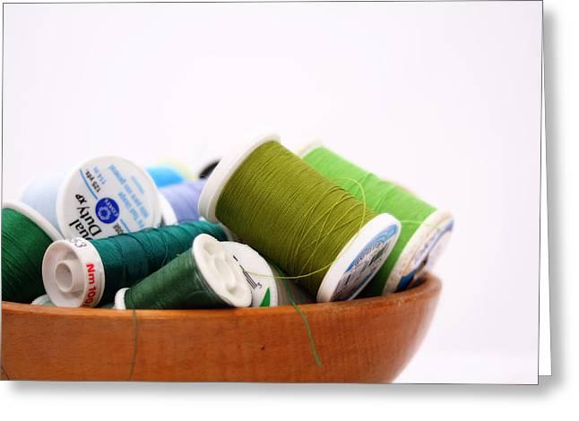 Green Thread Bowl Greeting Card by Nancy Ingersoll