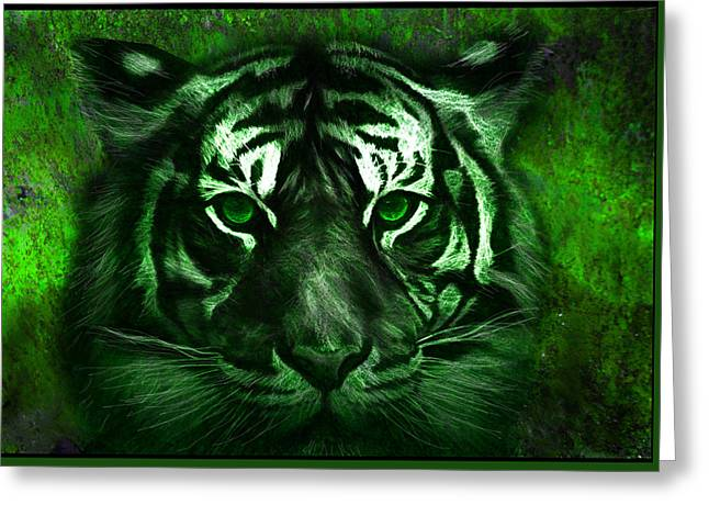 Green Tiger Greeting Card by Michael Cleere