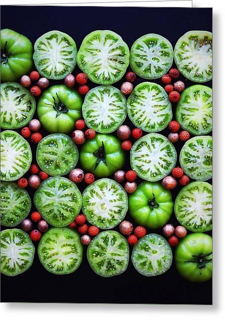 Green Tomato Slice Pattern Greeting Card