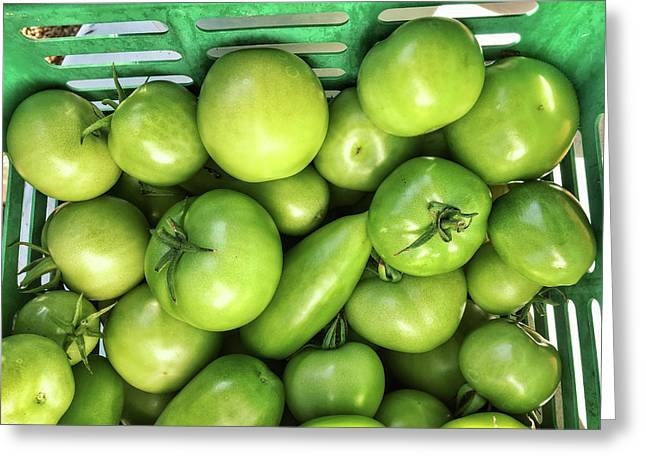 Green Tomatoes Greeting Card by Tom Gowanlock
