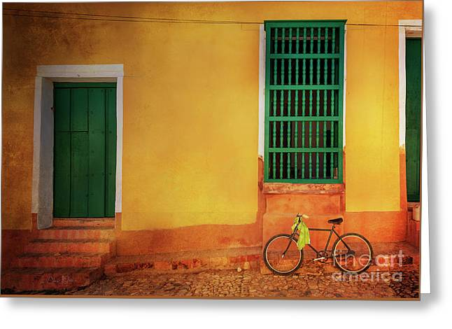 Greeting Card featuring the photograph Green Towel Bicycle by Craig J Satterlee
