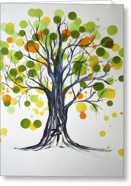 Green Tree Greeting Card by Alma Yamazaki