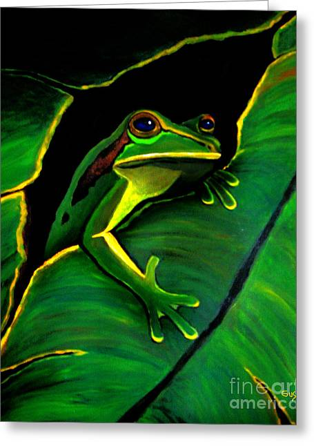 Tree Frog Paintings Greeting Cards - Green Tree Frog and Leaf Greeting Card by Nick Gustafson