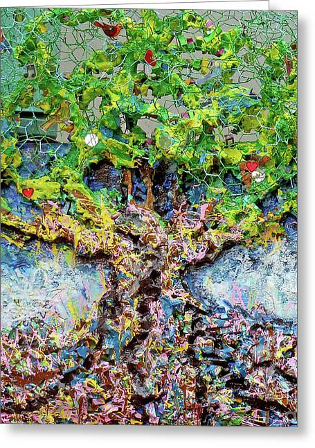 Green Tree With Birds Greeting Card