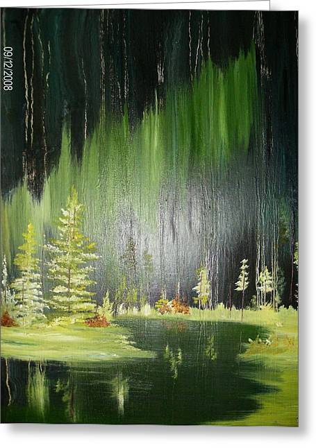 Green Trees Greeting Card by Terry Lash