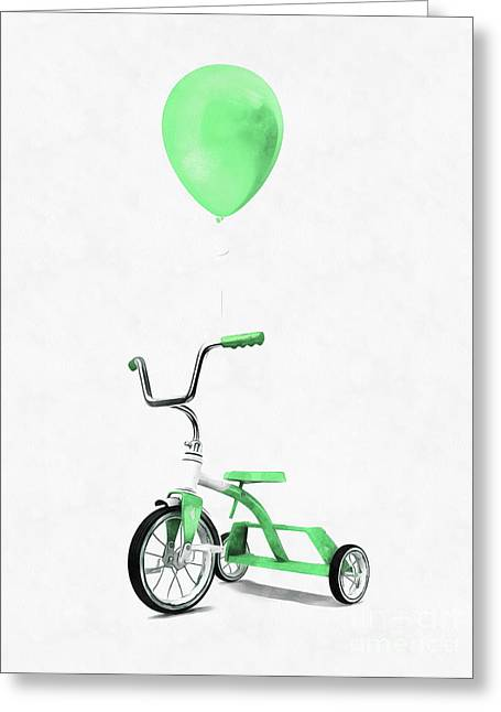Green Tricycle And Balloon Greeting Card