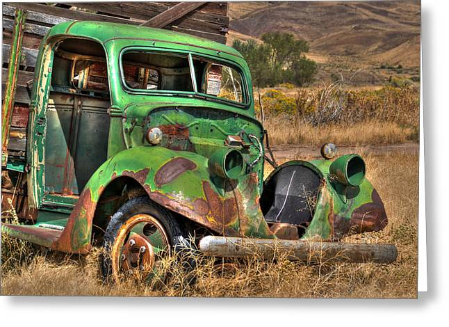 Green Truck In Reno Greeting Card by William Havle