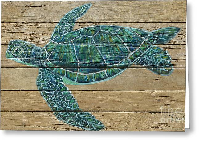 Green Turtle Greeting Card by Danielle Perry