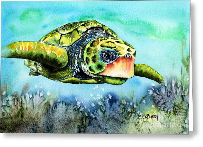 Green Turtle Greeting Card by Maria Barry