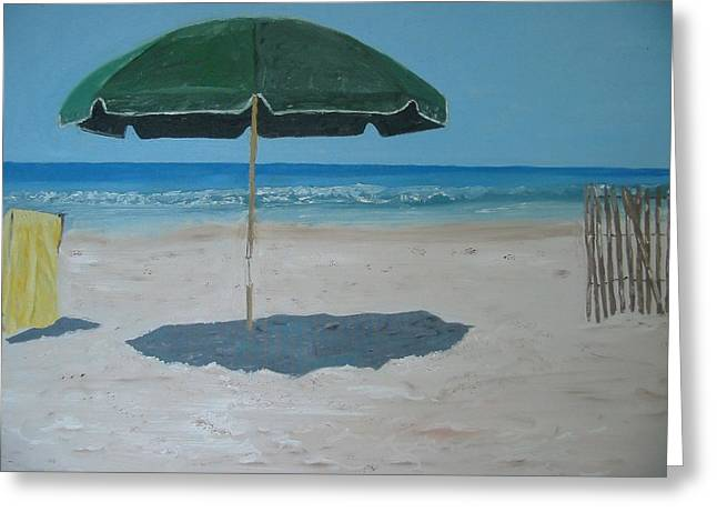 Green Umbrella Greeting Card by John Terry