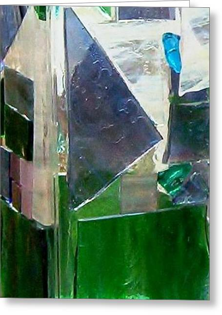 Greeting Card featuring the glass art Green Vase by Jamie Frier