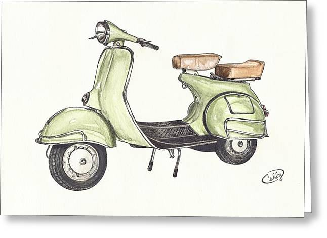Green Vespa Greeting Card by Brian Ashby