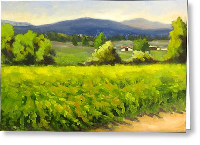 Green Vines Blue Hills Greeting Card by Char Wood