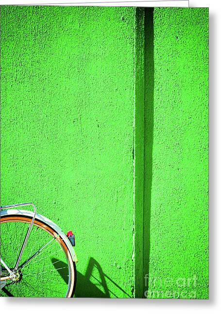Greeting Card featuring the photograph Green Wall And Bicycle Wheel by Silvia Ganora