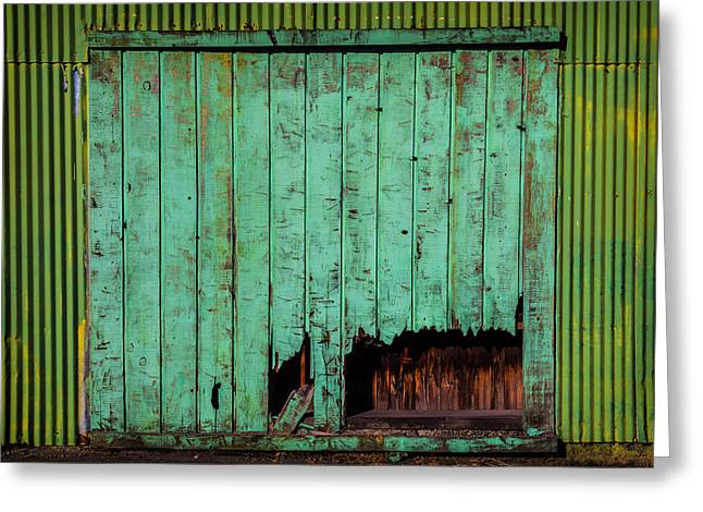 Green Warehouse Door Greeting Card by Garry Gay