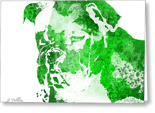 Green Watercolor Bulldog Greeting Card