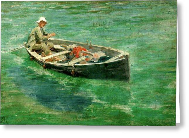 Greeting Card featuring the painting Green Waters by Henry Scott Tuke