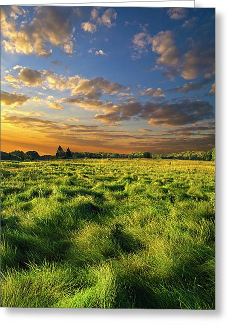 Myhorizonart Greeting Cards - Green Waves Greeting Card by Phil Koch