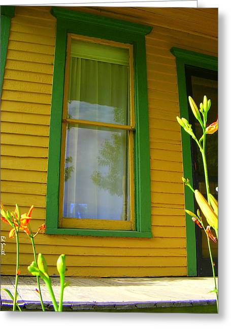 Green Window Greeting Card by Ed Smith