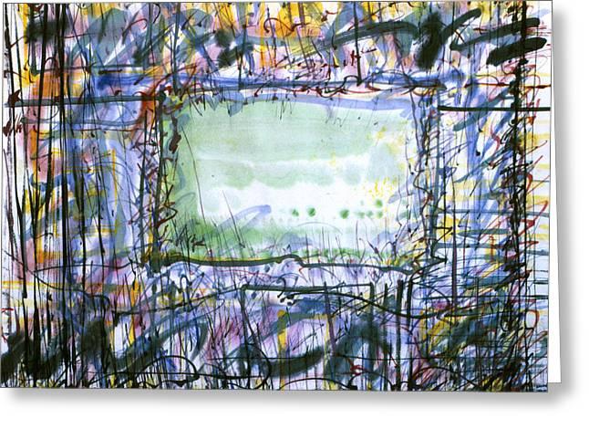 Green Window Greeting Card by Tom Hefko