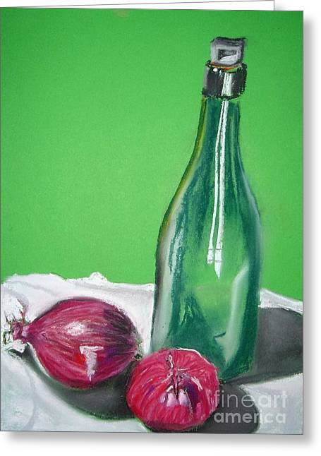 Green Wine Bottle And Red Onions Greeting Card by Angela Cartner