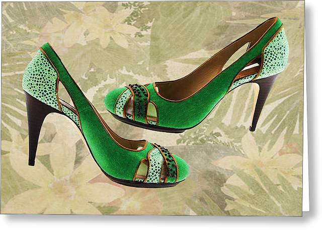 Boot Fetish Greeting Cards - Green with Envy Pumps Greeting Card by Elaine Plesser