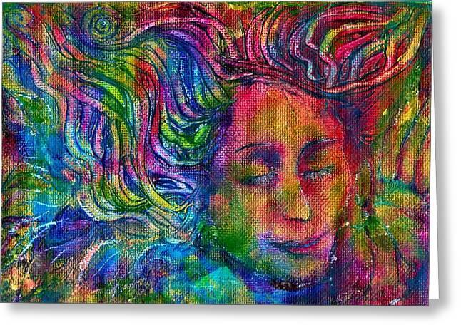 Green Woman Greeting Card by Lydia Erickson