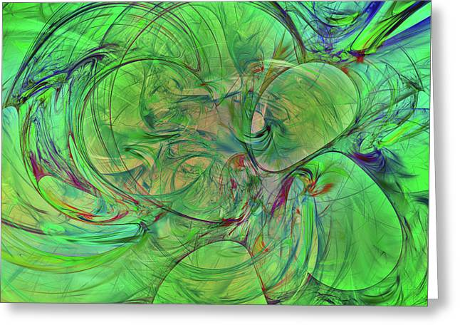 Greeting Card featuring the digital art Green World Abstract by Deborah Benoit