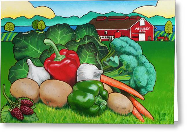Broccoli Greeting Cards - Greenbank Bounty Greeting Card by Stacey Neumiller