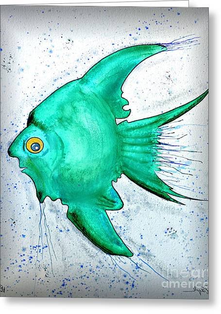 Greeting Card featuring the mixed media Greenfish by Walt Foegelle