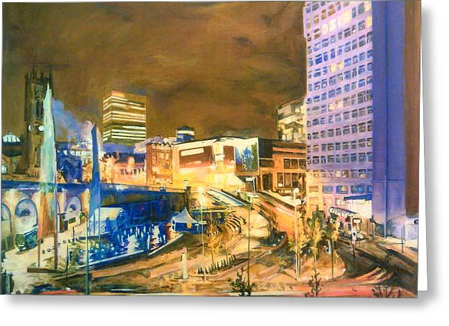 Greengate, Salford, Manchester At Night Greeting Card