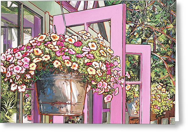 Greeting Card featuring the painting Greenhouse Doors by Nadi Spencer