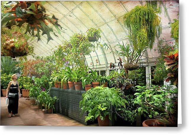 Greenhouse Stroll Greeting Card by Diana Angstadt
