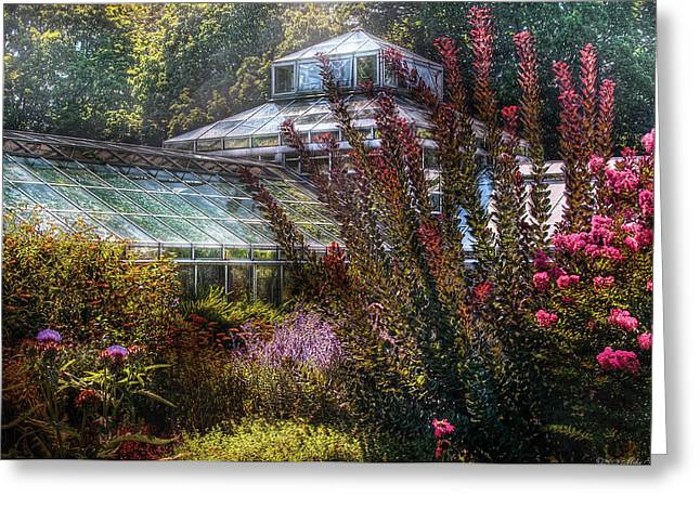 Greenhouse - The Greenhouse Greeting Card by Mike Savad