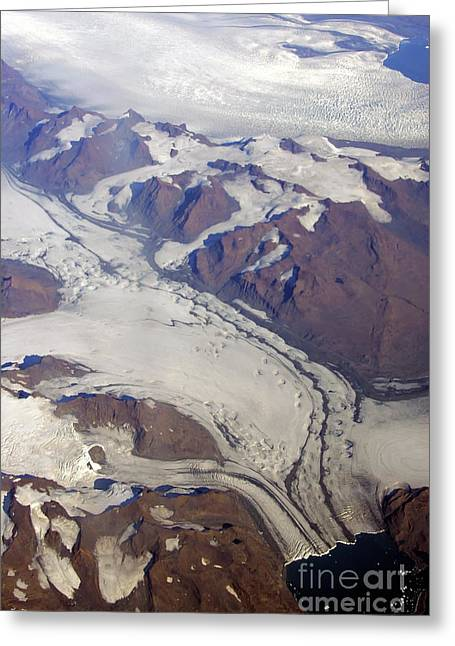 Greenland From 35 Thousand Feet Greeting Card by Stan and Anne Foster