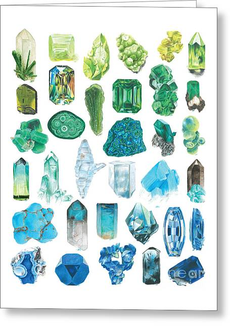 Greens And Blues Greeting Card by Abigail Kramer