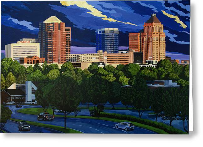 Greensboro Skyline In The Sunshine Greeting Card