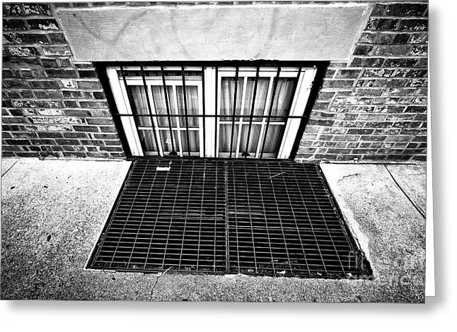 Greenwich Village Basement Window Greeting Card by John Rizzuto