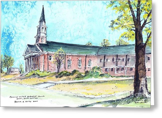 Greer United Methodist Church Greeting Card by Patrick Grills