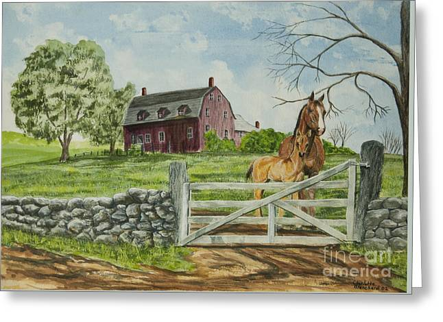 Greeting At The Gate Greeting Card by Charlotte Blanchard