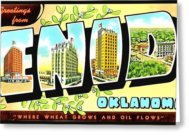 Greetings From Enid Oklahoma Greeting Card by Vintage Collections Cites and States