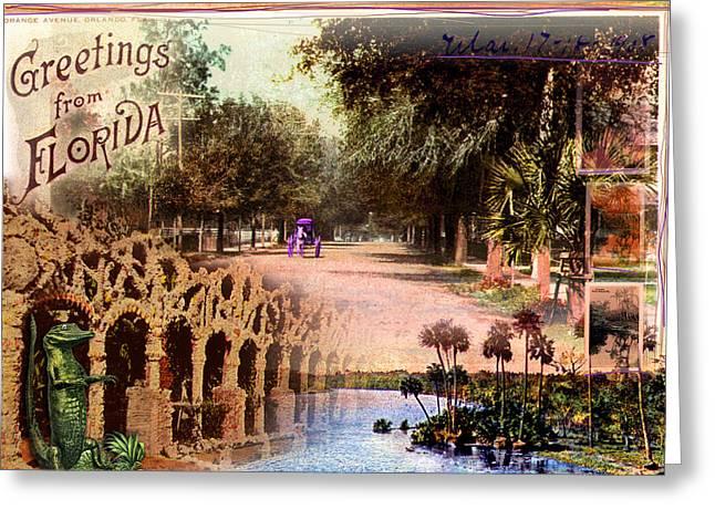 Greetings From Florida Greeting Card by Deborah Hildinger