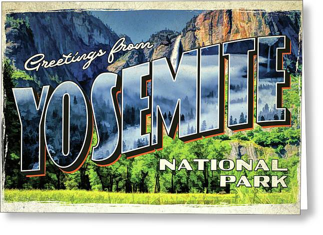 Greeting Card featuring the painting Greetings From Yosemite National Park by Christopher Arndt
