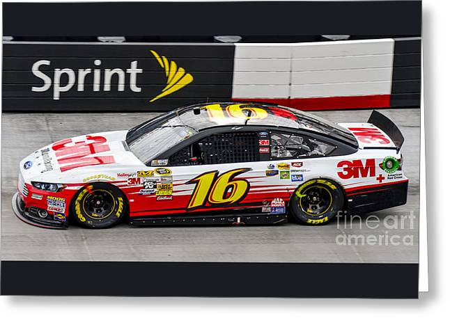 Greg Biffle At Bristol Motor Speedway Driving Ford Fusion Car #1 Greeting Card by David Oppenheimer