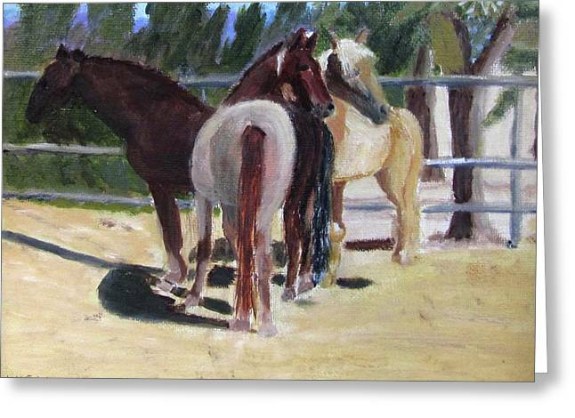 Greeting Card featuring the painting Gregory And His Mares by Linda Feinberg