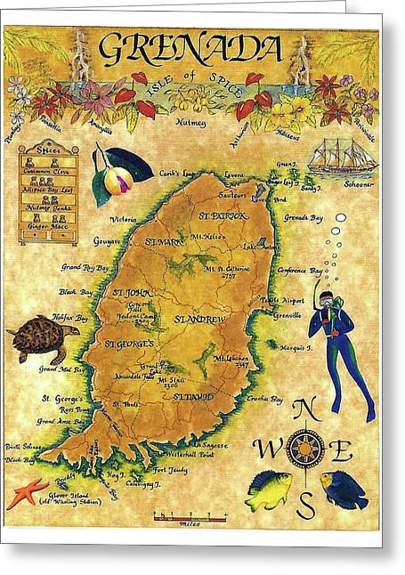 Grenada, Isle Map, Scuba Diving Greeting Card